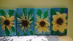Auringonkukka nauloilla lautapohjalle. (Alakoulun aarreaitta FB -sivustosta / Marjatta Hirvonen)