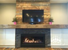Stacked Stone (Color: Del Norte) #fireplace from Kodiak Mountain Stone | Installation by RR Masonry in #Lethbridge AB | www.KodiakMountain.com