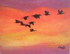 Vogelflug im Burgenland Painting, Art, Birds In Flight, Painting Art, Pictures, Paintings, Kunst, Paint, Draw