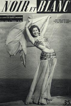 """Samia Gamal on the cover of the French """"Noir et Blanc"""", October 11, 1950.  سامية جمال"""