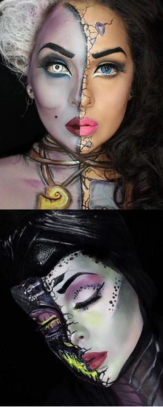 How incredible are these? Disney half face villain makeup tutorials The post These Disney villain half face makeup tutorials are amazing appeared first on Best Pins for Yours. Halloween Looks, Halloween Face Makeup, Halloween Makeup Tutorials, Disney Halloween Makeup, Costume Makeup Tutorial, Maleficent Halloween, Scary Halloween, Tesco Halloween, Disney Makeup Tutorial