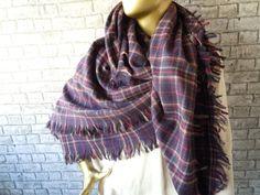 Purple Plaid Blanket scarf Plaid scarf flannel by bosphorusscarf