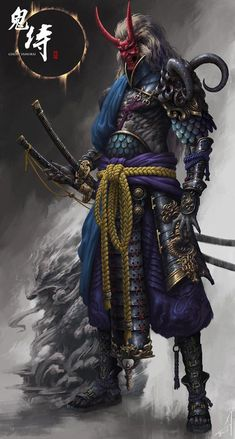 """the undefeated demon samurai"" Arte Ninja, Ninja Art, Ronin Samurai, Samurai Warrior, Samurai Anime, Character Concept, Character Art, Concept Art, Character Reference"