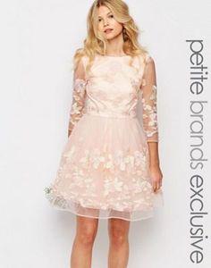 Платье мини для выпускного с вышитыми цветами и рукавами в сеточку Chi-Chi London Petite Premium