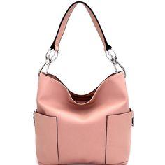 b0a207027389 Front view light pink square hobo handbag with chunky silver hardware Hobo  Handbags