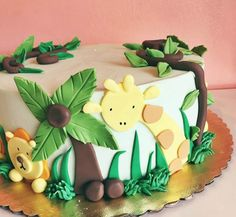 Charlie e the numbers Jungle Birthday Cakes, Jungle Theme Cakes, 1st Birthday Balloons, Boys 1st Birthday Party Ideas, Safari Cakes, First Birthday Cakes, 2nd Birthday, Safari Party Decorations, Themed Cakes