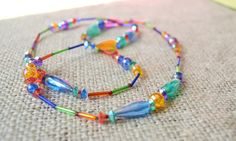 Vintage Acrylic Beaded Strand Necklace 1970s by talkOfThetown, $10.00