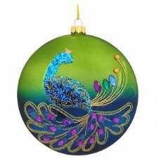 Glass Disc Ornament With Peacock Design Dated 2015 from Bronner's Christmas store of Christmas ornaments and Christmas lights Peacock Christmas Tree, Christmas Tree Bulbs, Peacock Ornaments, Aqua Christmas, Peacock Crafts, Christmas Shows, Painted Ornaments, Christmas Snowflakes, Christmas Balls