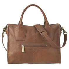 "botkier for Nine West Jackson leather satchel.  Tonal diamond stitch detail on front and back.  Front zip pocket.  Adjustable, detachable shoulder strap measures 17"" drop, double handle drop of 4 1/2"".  Inside features custom key holder with hidden clip, slip pockets and large zip pocket.  Measures approx 13 1/2"" L x 11"" H x 5 1/2"" D."