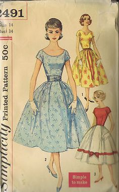 Simplicity Pattern  Pattern Number 3491  Copyright: 1958    Vintage 50's Misses One Piece Dress Pattern with Full Skirt    Simple to Make Dress pattern has short kimono sleeves, full skirt.  View 1 features V shaped front neckline, ribbon sash.  View 2 features low, round neckline, contrast belt.  View 3 features bateau front neckline.  Bodice and skirt trim are in contrast to the skirt.