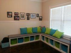 Ikea bookshelf turned into bench for kid's playroom