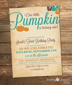 Pumpkin Birthday Invitation, Fall Birthday Party, Pumpkin Birthday, Boy First Birthday, Teal, Orange, Girl, Little Pumpkin (PRINTABLE FILE)
