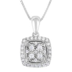 TruMiracle® 1/4 CT. T.W. Diamond Sterling Silver Square Pendant Necklace  found at @JCPenney