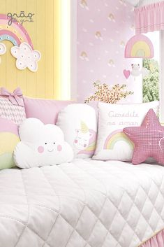 The Unicorn Friendly Pillows is an exclusive line that brings the lusty touch … - Babyzimmer Ideen Kids Bedroom Sets, Girls Bedroom, Kids Room, Baby Room Decor, Bedroom Decor, Rainbow Nursery Decor, Pastel Room, Unicorn Bedroom, Baby Room Neutral