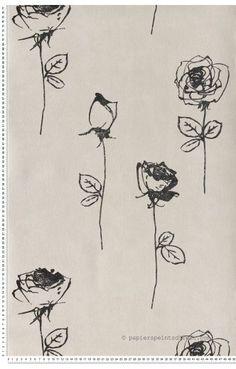 Rose sur tige gris et noir - Papier peint Mémory d'AS Création
