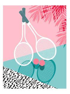 cool Sportin' - retro minimal pastel neon throwback memphis style pop art tennis sport court player Art Print by Wacka | Society6