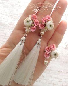 Community wall photos - Delicate pink and white flowers earrings, long earrings, tassel earrings, handmade jewelry, polymer clay flowers Diy Jewelry, Beaded Jewelry, Jewelery, Jewelry Design, Jewelry Making, Jewellery Box, Jewellery Shops, Jewelry Stand, Bohemian Jewelry