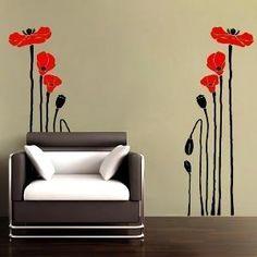 Vinyl Wall Decal Poppy Flowers by WowWall