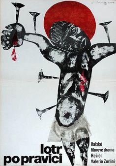 Black Jesus - 1970 Czech poster for the film Lotr po pravici (Black Jesus), designed by Karel Teissig