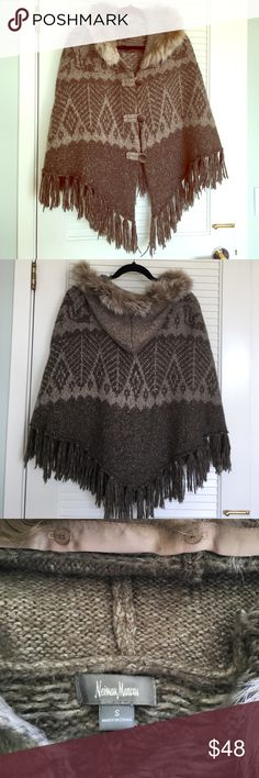 Knit hooded cape Thigh length knit cape with fringe and removable fur on hood. Neiman Marcus Jackets & Coats Capes