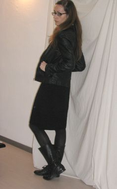 total black, leather jacket, skirt, boots