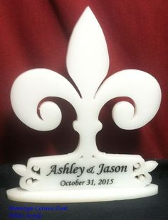 Fleur De Lis Wedding Cake Topper Personalized, Names and Date engraved
