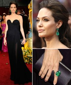 A striking contrast to her black Elie Saab couture gown, Angelina Jolie's spectacular Lorraine Schwartz 115-carat Colombian emerald drop earrings and matching 65-carat ring ushered in a new trend for all things emerald. circa 2009