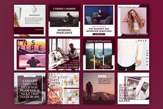 Gloria | Instagram templates pack - 12 PSD premade templates for the Instagram