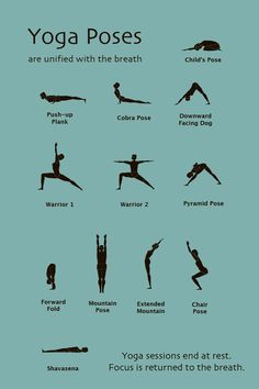 Basic Yoga Poses. I need to learn so I can start taking classes :-)