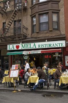 La Mela Ristorante in Little Italy NYC; This is my Favorite place to eat in NYC. I always have to stop in for great food and a good time!
