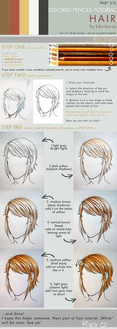 Color Pencil Drawing Tutorial Colored pencils tutorial HAIR part 3 by kiko-burza on deviantART - Colouring Techniques, Drawing Techniques, Drawing Tips, Drawing Reference, Drawing Hair, Hair Reference, Drawing Ideas, Colored Pencil Tutorial, Colored Pencil Techniques