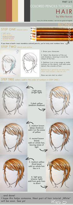 Colored pencils tutorial HAIR part 3 by kiko-burza on deviantART