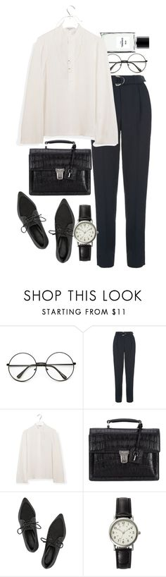 """""""Untitled #8588"""" by nikka-phillips ❤ liked on Polyvore featuring Chanel, Maje, Helmut Lang, Yves Saint Laurent, TIBI, FOSSIL, Topshop, women's clothing, women and female"""