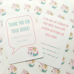 These cute A6 (14.8x10.5cm) cards are perfect to include with your beautiful makes. This is for a set of 40 cards.  The front reads Thank you for your order! We appreciate your business and the reverse includes your contact details which can be telephone, email, website, social media links....whatever youd like! The text can be black, rainbow as shown or coloured to match your logo, and a logo image can be added if desired.  The card is 210gsm.  When you have placed your order please pop me…