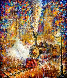 Last Train - Leonid Afremov I purchased this as a gift to myself the Christmas of 2015....because I am worth it!