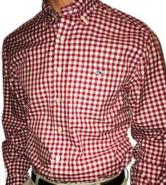Vineyard Vines Crimson and White Tucker Shirt - Herringbone Check