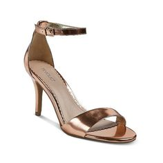 Women's Raz Metallic City Heeled Sandals Tevolio ($24) ❤ liked on Polyvore featuring shoes, sandals, gold, plus size, ankle strap shoes, dressy shoes, metallic heeled sandals, gold sandals and ankle tie sandals