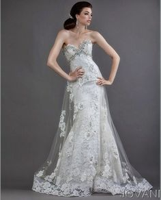 This jovani wedding dress is different and pretty. I would love to see what this looks like.