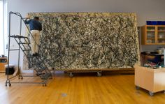 """Examination and restoration of Jackson Pollock's """"One: Number 31"""", 1950."""