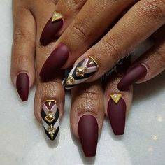 Matte Burgundy Coffin Nail Design