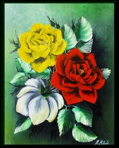 TRANDAFIRI MULTICOLORI, by MocanuMihaela, 250 Lei Lei, Mall, Plants, Handmade, Painting, Hand Made, Painting Art, Paintings, Plant