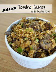 Asian Toasted Quinoa with Mushrooms (vegan, gluten free)