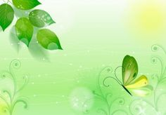 businesz cards with green butterflies and leaves | Fresh Green Spring Abstract Butterfly Background