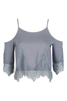 PETITE Cold Shoulder Lace Top