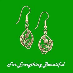 For Everything Genealogy - Spirit of Scotland Thistle Double Sided Floral Emblem 14K Yellow Gold Earrings, $400.00 (http://foreverythinggenealogy.mybigcommerce.com/spirit-of-scotland-thistle-double-sided-floral-emblem-14k-yellow-gold-earrings/)