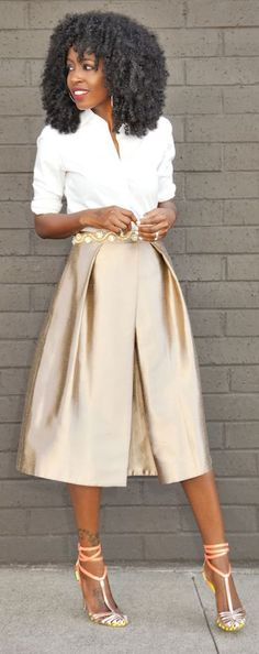 Gold Box Pleated Midi Skirt by Style Pantry