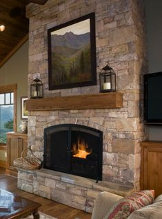 Outdoor fireplace - add slot for firewood storage beneath hearth seat Cabin Fireplace, Fireplace Remodel, Living Room With Fireplace, Fireplace Design, Fireplace Mantels, Reface Fireplace, Mantles, Freestanding Fireplace, Rustic Home Design