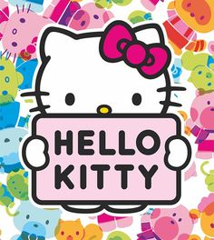Fotomural Hello Kitty FTL 1641, imagen de la Hello Kitty rodeada por pequeñas imágenes de Hello Kitty en diferentes colores junto con un cartel con su nombre.