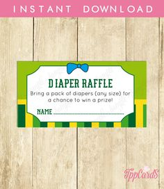New to TppCardS on Etsy: Instant Download Frog Diaper Raffle Cards Printable Gender Neutral Frog Baby Shower Games Yellow Green Frog Theme Baby Shower Raffle (2.00 EUR)