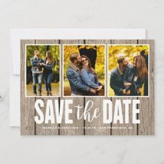 Save the Date Rustic Light Wood 3 Photo Collage